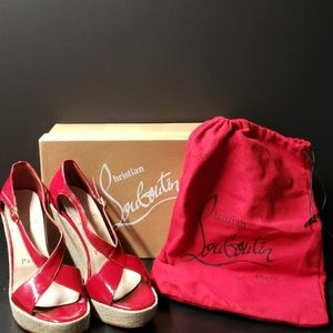 Christian Louboutin Womens Open Toe Wedges